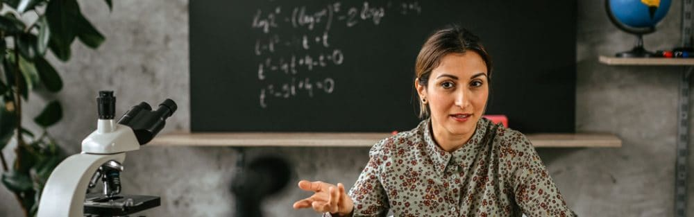 a teacher at her desk
